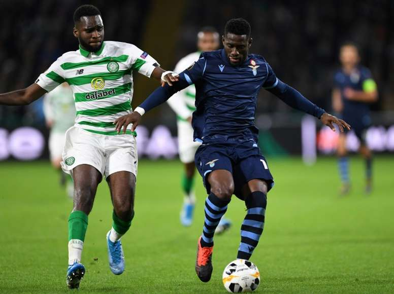 Edouard (L) scored two goals for Celtic despite having a toe injury. AFP