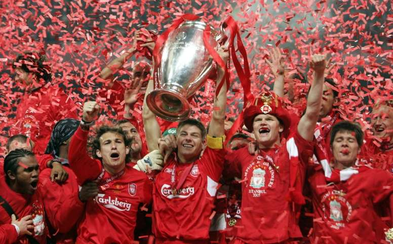 Gerrard and Alonso lifted the CL together in 2005. AFP