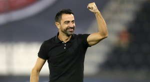 Al Sadds Spanish coach Xavi Hernandez celebrated as his team scored. AFP
