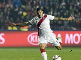 Perus midfielder Juan Vargas kicks the ball during the Copa America third place football match against Paraguay in Concepcion, Chile on July 3, 2015
