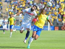 Zamalek's Basem Abdall (L) goes head to hand with  Wayne Arendse in the CAF Championship final. AFP
