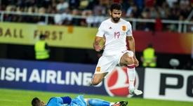 Stole Dimitrievski, en un partido de Macedonia contra España. AFP