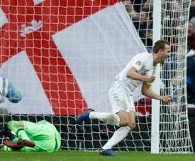 Kane netted the penalty for England's second. AFP