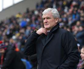 Southampton boss Mark Hughes watches on from the touchline. AFP