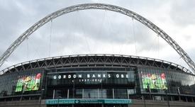 O estadio de Wembley é um dos concorrentes para sediar a final da Liga dos Campeões em 2023. AFP