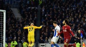 Salah marcou o único gol da partida. AFP