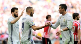 Benzema and his form will threaten Ronaldo. AFP