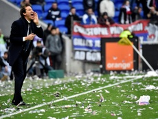 Rudi Garcia and the Lyon fans were not happy after drawing to Strasbourg. AFP