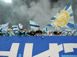 FC Zenits fans cheer for their team during a Russian League football match