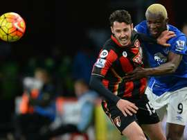 Bournemouths defender Adam Smith (L) vies against Evertons striker Arouna Kone during the English Premier League football match at the Vitality Stadium in Bournemouth, southern England on November 28, 2015