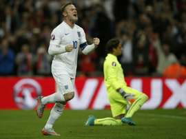 Wayne Rooney celebrates after becoming Englands all-time goal scorer, during the Euro 2016 qualifying match against Switzerland at Wembley Stadium, on September 8, 2015