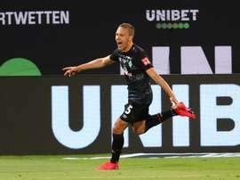 Augustinsson scored as Werder Bremen stayed in the Bundesliga. AFP