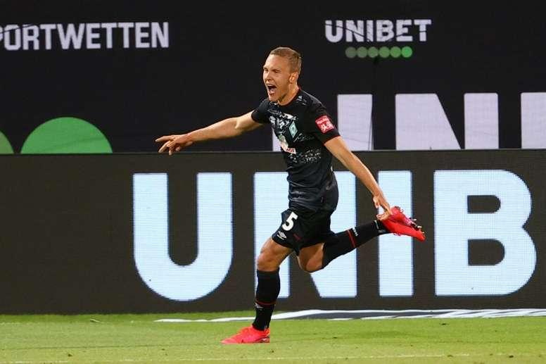 Augustinsson scored as Werder Bremen stayed in the Bundesliga. AFP
