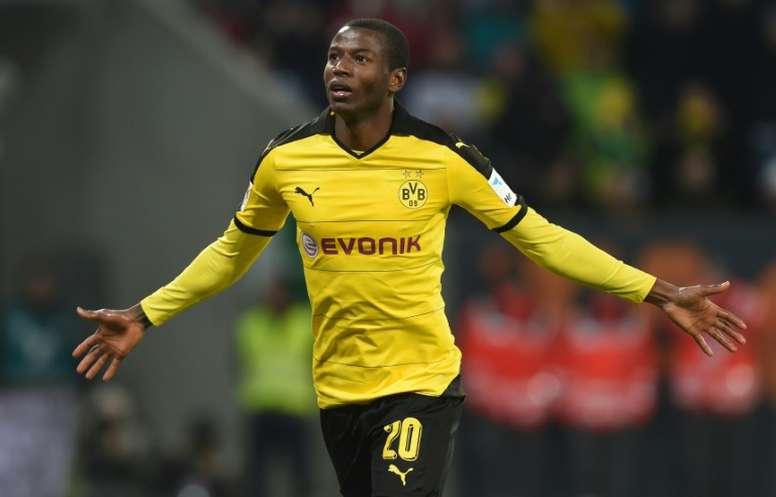Dortmund's Adrian Ramos celebrates after scoring a goal against Augsburg. AFP