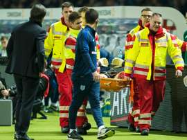 England's goalkeeper Jack Butland was stretchered off during their friendly. BeSoccer