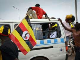 Supporters of the Ugandas football team are pictured in Kampala on June 9, 2012
