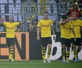 Alcacer helped Dortmund cruise to victory over Leverkusen. AFP