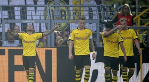 Alcacer helped Dortmund cruise to victory over Leverkusen. AFP