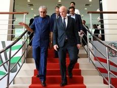 Sheikh Salman bin Ebrahim Al Khalifa pictured with FIFA president Gianni Infantino. AFP