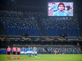 Napoli wore an Argentinian style kit to remember Diego Maradona. AFP