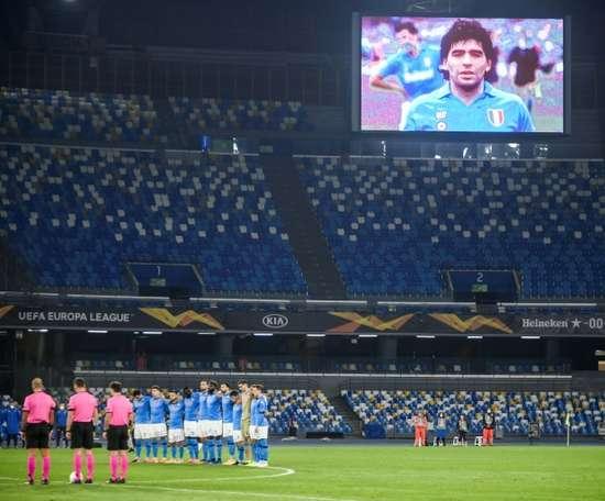Napoli players paid tribute to club legend Diego Maradona. AFP