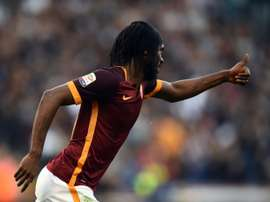 Romas forward Gervinho celebrates after scoring during the Italian football match AS Roma vs SS Lazio at the Olympic stadium on November 8, 2015 in Rome