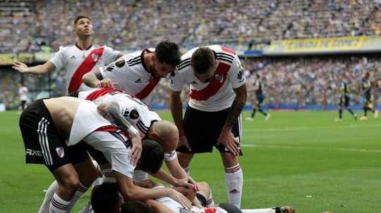 Boca Juniors' Carlos Izquierdoz as the Copa Libertadores final 1st leg finishes in a 2-2 draw. AFP