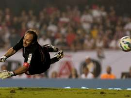 Goalkeeper Rogerio Ceni during a friendly match between Club World Cup football 1992-1993 and Club World Cup 2005 at Morumbi stadium in Sao Paulo, Brazil on December 11, 2015