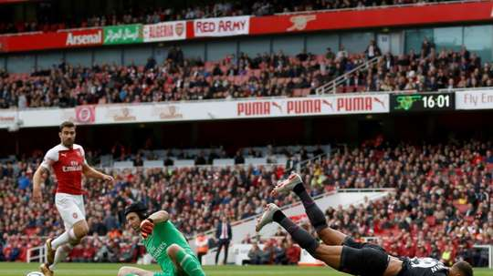 Cech was Arsenal's man of the match against Everton. AFP
