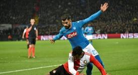Elseid Hysaj tiene contrato con el Nápoles hasta junio de 2021. AFP
