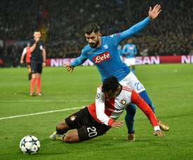 Elseid Hysaj has a contract with Napoli until June 2021. AFP