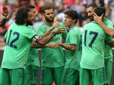 Benzema's hat-trick gave Real Madrid their first pre-season win. AFP