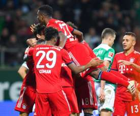 Serge Gnabry sparked celebrations after giving Bayern the lead. AFP