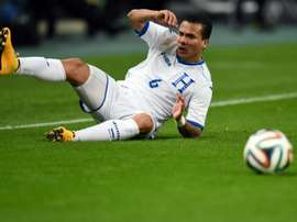 Honduras midfielder Arnold Peralta, seen in action during a friendly match against Japan, in Toyota, in November 2014