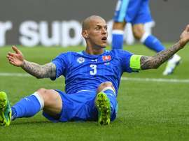 Slovakias defender Martin Skrtel, in action on June 11, 2016, says he will not think twice about tackling his Liverpool team-mate Daniel Sturridge