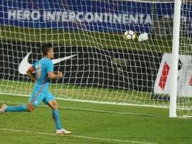 Sunil Chhetri anotó el único gol de la India ante Nueva Zelanda. AFP/Archivo