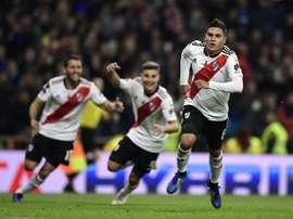 Quintero scored a brilliant goal as River Plate won their fourth Copa Libertadores crown. AFP
