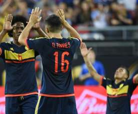 Colombia celebrate after defeating the USA 2-0 during the Copa America Centenario in Santa Clara, California