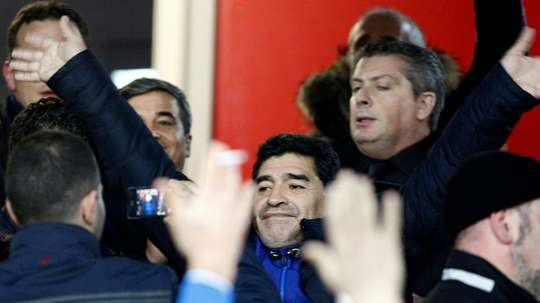 Diego Maradona received the applaus of Neapolitan fans in 2014. AFP