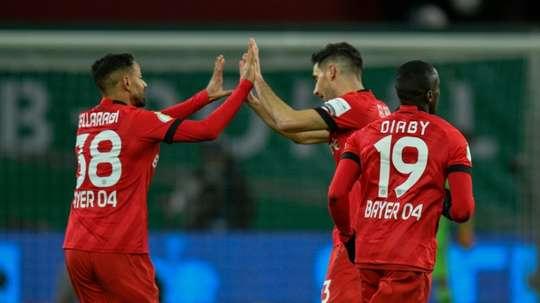 Bellarabi (L) began Leverkusen's late comeback. AFP