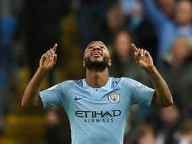 Sterling was the man of the moment once more for the champions. AFP