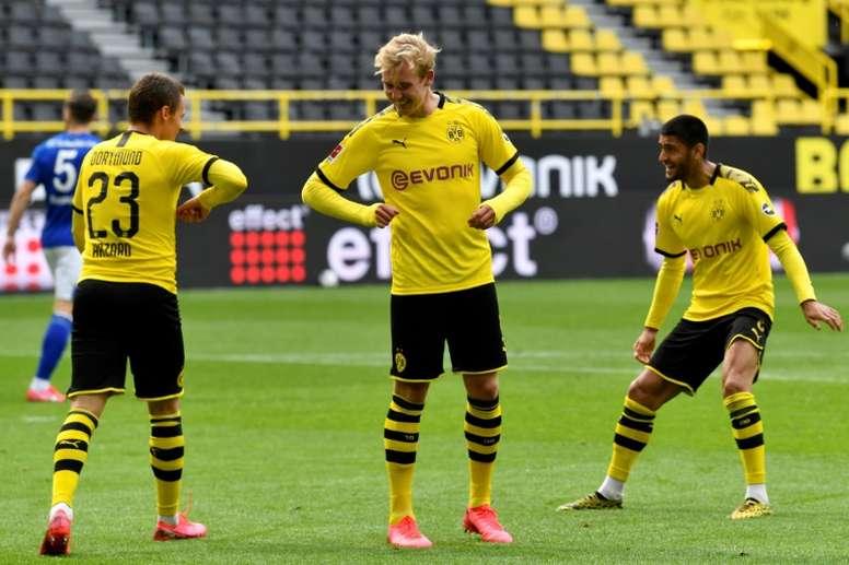 O Borussia Dortmund, segundo colocado, enfrenta o Wolfsburg neste sábado. AFP