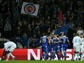 Dynamo Kiev players celebrate a goal during their UEFA Champions League match against Porto in Portugal on November 24, 2015