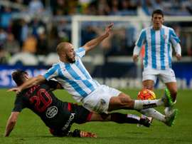 Nordin Amrabat (C), seen in Malaga on January 2, 2016, agreed to a three and a half year contract with the Hornets and will link up with Quique Sanchez Flores squad after the league match at Swansea