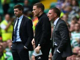 Steven Gerrard has encouraged his Rangers side to bounce back from defeat to Celtic. AFP