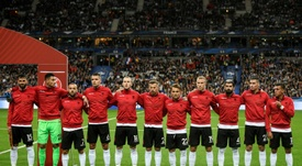 The Albanians heard the Andorran anthem prior to their match against France. AFP