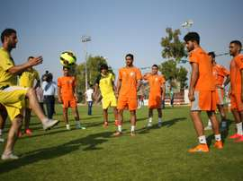 Palestinian players of Al-Ahli Hebron attend a training session in Gaza City on August 5, 2015