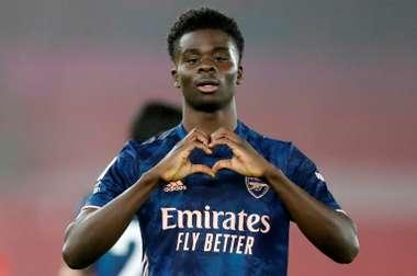 Arsenals Bukayo Saka celebrates scoring against Southampton. AFP