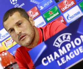 Julio Cesar attends a press conference on the eve of the Champions League match against Napoli. AFP