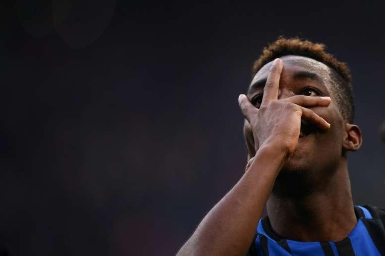 Karamoh showed fans his iconic celebration after scoring his first goal. AFP